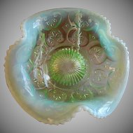 "Northwood Glass ""Cashews"" Pattern Green Opalescent Tri-Fold Bowl"