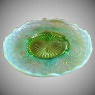 "Jefferson Glass ""Tokoyo"" Pattern Green Opalescent Footed Plate w/Raised Edge"