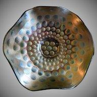 Fenton Green Carnival Glass Coin Dot Variant Scalloped Bowl