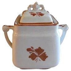 Mellor, Taylor & Co. Ironstone Tea Leaf Covered Sugar Bowl