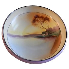 Noritake Japan Hand Painted Serving Bowl w/Scenic Country Motif