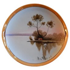 Japan Hand Painted Cabinet Plate w/Scenic Country Motif