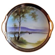 Noritake Japan Hand Painted Serving Plate w/Scenic Country Motif