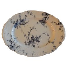 """Booths (Limited) Blue Transfer-Ware """"Princess May"""" Pattern Oval Serving Platter"""