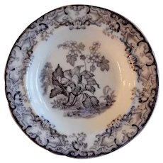 """Davenport Ironstone Mulberry Transfer-Ware """"Lily"""" Pattern Rimmed Soup Plate"""