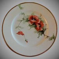 Limoges France Hand Painted Charger Plate w/California Poppies Motif