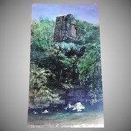 "Acrylic Scenic Painting ""Tower Rock"" by Illinois Sculptor & Artist Lily Topol"