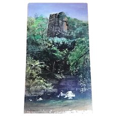 """Acrylic Scenic Painting """"Tower Rock"""" by Illinois Sculptor & Artist Lily Topol"""