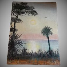 Oil Scenic Florida Coastal Sunset Painting by Illinois Sculptor & Artist Lily Topol