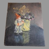"Oil Still Life Painting ""Clown & Vase of Flowers"" by Illinois Sculptor & Artist Lily Topol"
