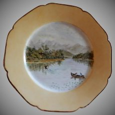 Charles Haviland Hand Painted Cabinet Plate w/Placid Lake & Mountain Scene Motif - 6 of 7