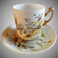 "Rosenthal Hand Painted Porcelain ""Blackeye Susans"" Pattern Tea Cup & Saucer"
