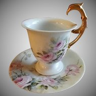 "Rosenthal Hand Painted Porcelain ""Pink Tea Roses"" Pattern Tea Cup & Saucer"