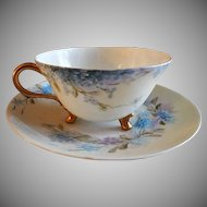 "Home Studio Hand Painted Porcelain ""Forget-Me-Not"" Pattern Tea Cup & Saucer"
