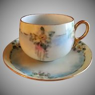 "Home Studio Hand Painted Porcelain ""Wild Roses"" Pattern Tea Cup & Saucer"