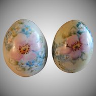 Bavaria Hand Painted, Signed, Egg-Shaped Salt & Pepper Shakers w/FMN & Rose Motif