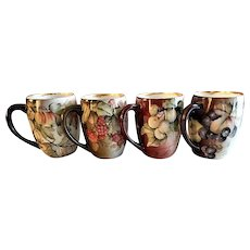 Tressemann & Vogt Hand Painted Small Mugs w/Grapes, Currants and Raspberries Motif - Set of 4