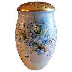 Bavaria Hand Painted, Signed, Sugar Shaker/Muffineer w/Forget-Me-Not Floral Motif