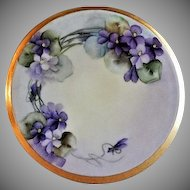 "Home Studio Hand Painted Porcelain ""Wild Violets"" Tea Tile Trivet"