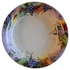 Bohemia Porcelain Hand Painted & Signed Bowl w/Grapes Motif