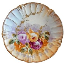 Blakeman & Henderson Hand Painted Cabinet Plate w/Tea Roses & Encrusted Gold Motif