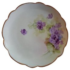 Pickard Studio Hand Painted Cabinet Plate w. Wild Violets Motif