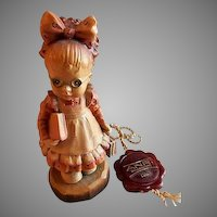 """Anri of Italy """"Off To School Girl"""" Limited Carving 569/4000 by Sarah Kay"""