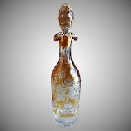 Bohemian Amber to Clear Wheel-Cut & Engraved Wine/Liquor Decanter