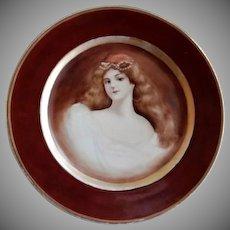 "Haviland & Company Limoges Hand Painted ""Portrait"" of Gorgeous Lady"