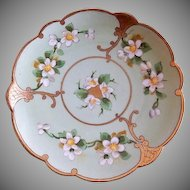 Pickard Studio Hand Painted Cabinet Plate w/White Apple Blossom Motif