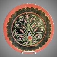 Russian Folk Art Hand Painted Wood Charger Plate w/Stylized Floral Motif - Leonid Sokoloff