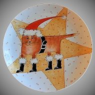 "Home Studio Hand Painted ""Santa Cat Christmas"" Plate"