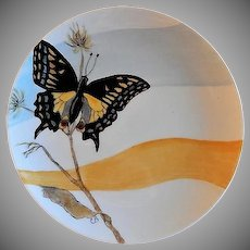 """Home Studio Hand Painted """"Anise Swallowtail Butterfly"""" Plate"""