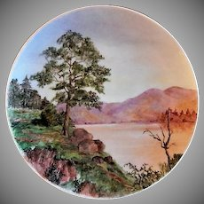 """Home Studio Hand Painted """"Scenic Lake & Mountains"""" Plate"""
