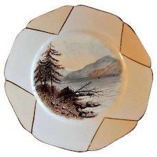 Charles Haviland Hand Painted Cabinet Plate w/Scene of Lake & Mountain Motif - 4 of 6