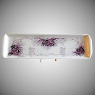 "Home Studio Hand Painted ""Wild Violets Motif"" Tray"