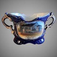 "Early 1900's Souvenir ""Public Library Dixon ILL"" Toothpick Holder/Miniature Vase"