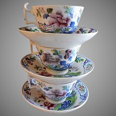 """Early English Polychrome Porcelain """"Chinoiserie"""" Floral Pattern - Set of 3 Cups & Bowl Saucers"""