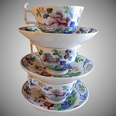 "Early English Polychrome Porcelain ""Chinoiserie"" Floral Pattern - Set of 3 Cups & Bowl Saucers"