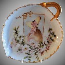 CFH/GDM Limoges Hand Painted Leaf-Shape Tray w/Ladies Portrait & Floral Motif