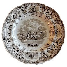"Knight Elkins & Co. - Brown Transfer-ware Plate - ""Hannibal Passing The Alps"" Pattern"