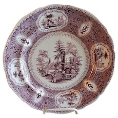 "Samuel Alcock & Company - Florentine China Red Transfer-ware Plate - ""Pearl"" Pattern"