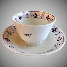 Mid-Nineteenth Century Hand Painted Handle-less Cup & Bowl Saucer - Floral Motif
