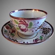 Early-Nineteenth Century Sunderland Lustre Handle-less Cup & Bowl Saucer - Floral & Grape Motif