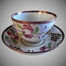 Early-Nineteenth Century Sunderland Lustre Handle-less Cup & Bowl Saucer - Floral & Grape Motif