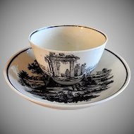 Mid-Nineteenth Century Child's Black Transfer-ware Handle-less Cup & Bowl Saucer - Mourning Motif