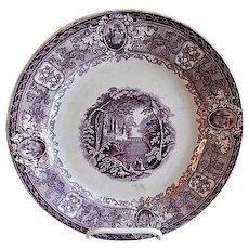 """E. Challinor & Co. - Ironstone Mulberry Transfer-ware Plate - """"Panama"""" Pattern"""