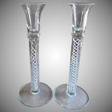"""Vintage Crystal """"Air Twist"""" Stem Candlesticks - Pair"""