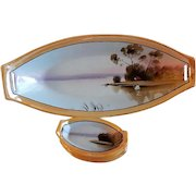 Japan Hand Painted Celery/Relish Tray & Five Salts w/Scenic Country Motif