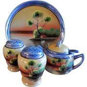 Japan Hand Painted Condiment Tray, Mustard, Salt & Pepper Set w/Scenic Country Motif